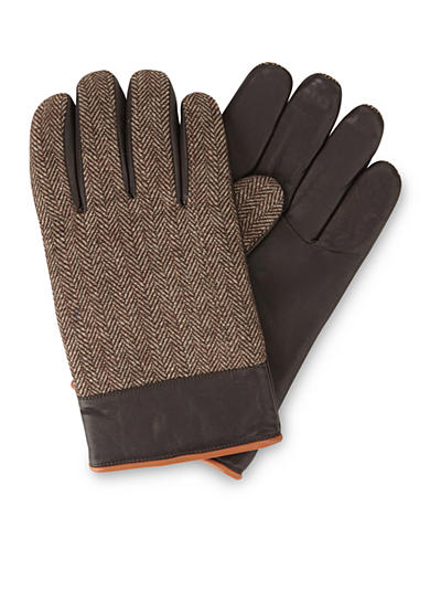 Original Penguin Woolen Herringbone/Leather Gloves