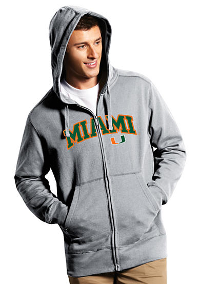 Antigua® Miami hurricanes Split Applique Full Zip Hoodie
