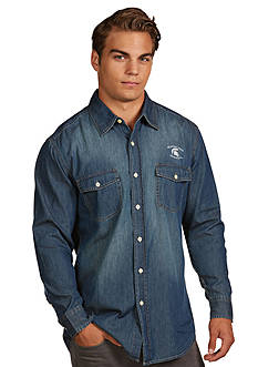 Antigua® Michigan State Spartans Long Sleeve Chambray Shirt