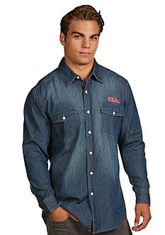 Antigua® Ole Miss Rebels Long Sleeve Chambray Shirt