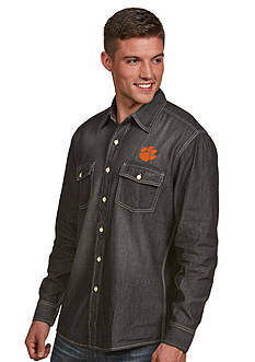 Antigua® Clemson Tigers  Long Sleeve Chambray Shirt