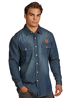 Antigua Clemson Tigers Long Sleeve Chambray Shirt
