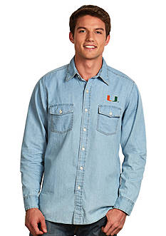 Antigua Miami Hurricanes Long Sleeve Chambray Shirt