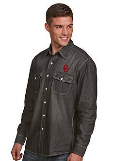 Antigua Oklahoma Sooners Long Sleeve Chambray Shirt