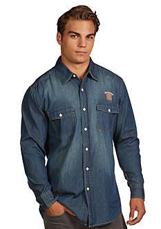 Antigua Syracuse Orange Long Sleeve Chambray Shirt