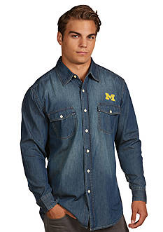 Antigua® Michigan Wolverines Long Sleeve Chambray Shirt