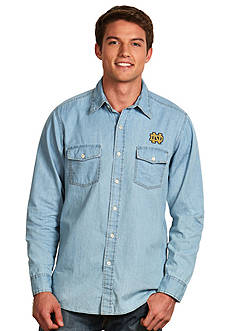 Antigua® Notre Dame Fighting Irish Long Sleeve Chambray Shirt