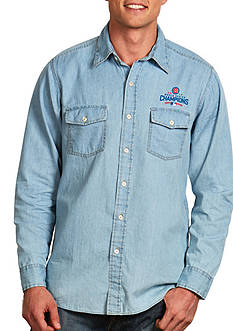Antigua Chicago Cubs 2016 World Series Champs Mens Chambray Button Down