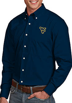 Antigua West Virginia Mountaineers Dynasty Woven Shirt