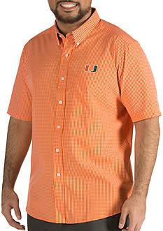 Antigua® Miami Hurricanes Short Sleeve Button Down