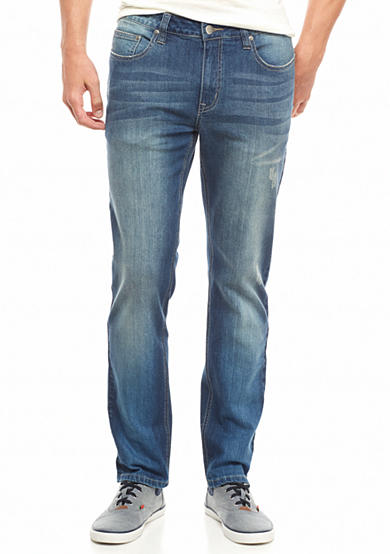Red Camel® Tapered Slim Fit Bleached Out Indigo Wash Jeans