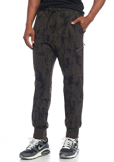 Red Camel® Sponge Print Zip Pocket Jogger Pants