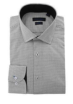 Andrew Fezza Slim Fit Mini Print Dress Shirt