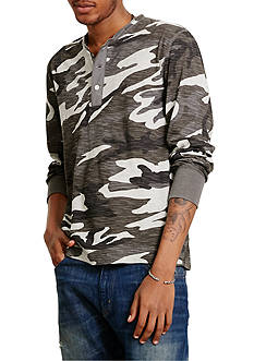 Denim & Supply Ralph Lauren Long Sleeve Flag-Placket Jersey Henley Shirt