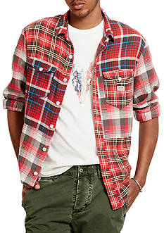 Denim & Supply Ralph Lauren Patchwork Cotton Sport Shirt