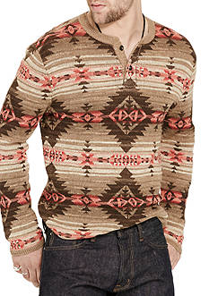 Denim & Supply Ralph Lauren Long Sleeve Southwestern Cotton Henley Shirt