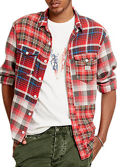 Denim & Supply Ralph Lauren Patchwork Cotton Sport Shirt
