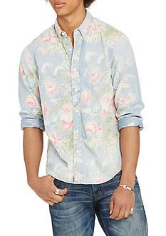 Denim & Supply Ralph Lauren Long Sleeve Floral-Print Chambray Shirt