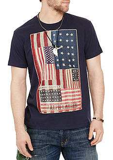 Denim & Supply Ralph Lauren Flag-Patch Cotton Jersey Graphic Tee