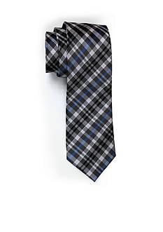 Andrew Fezza Black Blue Plaid Tie