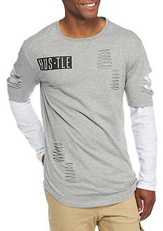 Masterpiece Long Sleeve Hustle Slash Layered Crew Shirt