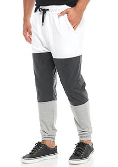 Masterpiece Colorblock Mixed Media Jogger Pants