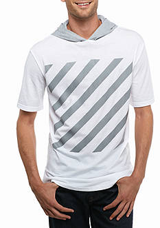 Masterpiece Short Sleeve Diagonal Stripe Hoodie