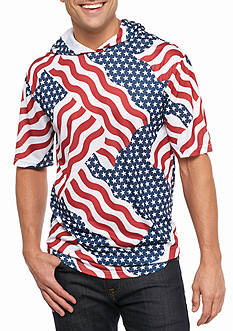 Masterpiece Short Sleeve Flag Print Hooded Tee
