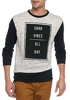Masterpiece Long Sleeve 'Good Vibes' Marl Crew Neck Shirt