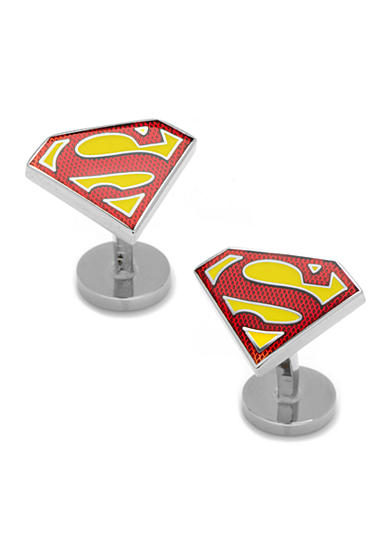 Cufflinks Inc Textured Transparent Enamel Superman Shield Cufflinks