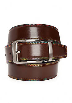 Tallia Orange 1.38-in. Multi-Colored Stitched And Solid Stitched Reversible Belt