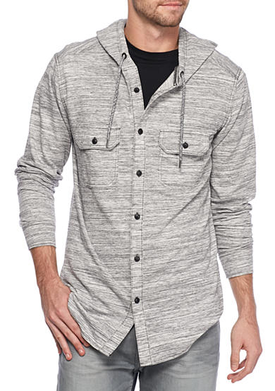 Ocean Current Long Sleeve Pulp Button Down Hoodie