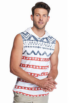 BEVEL™ Sleeveless Flag Vertical Stripe Hoodie Shirt
