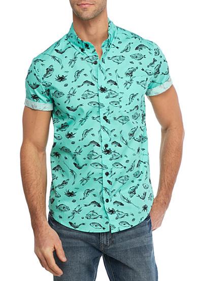 Brooklyn cloth mfg co short sleeve fish print shirt belk for Fish print shirt