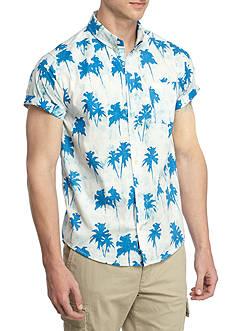 Brooklyn CLOTH Mfg. Co Short Sleeve Tie Dye Palm Print Button Down Shirt
