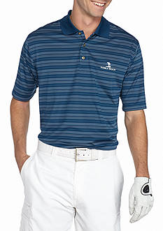 PEBBLE BEACH Classic-Fit Texture-Striped Performance Golf Polo Shirt