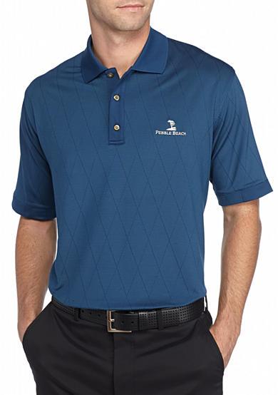 Pebble beach classic fit striped jacquard performance for Pebble beach performance golf shirt