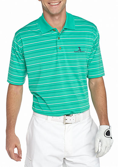 Pebble beach jersey stripe performance golf polo shirt for Pebble beach performance golf shirt