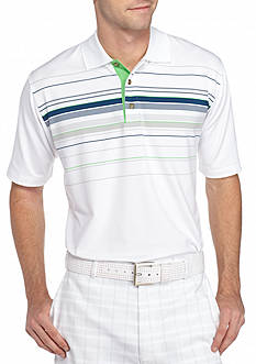 PEBBLE BEACH Classic-Fit Chest-Striped Performance Golf Polo Shirt