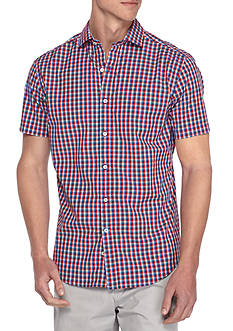 Crown & Ivy™ Short Sleeve Washed Micro Check Button Down Shirt