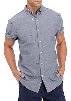 Crown & Ivy™ Short Sleeve Bird Embroidery Button Down Shirt