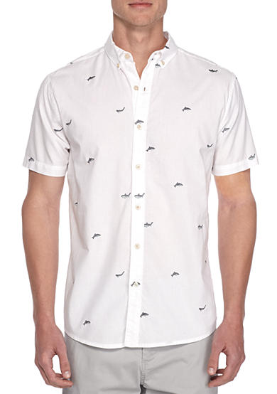 Crown & Ivy™ Short Sleeve Shark Embroidery Button Down Shirt