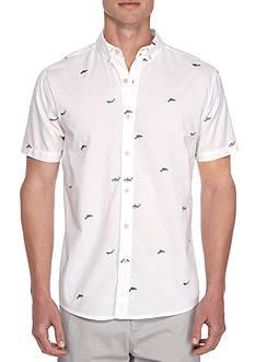 Crown & Ivy™ Short Sleeve Shark Embroidery Button Down Shirt