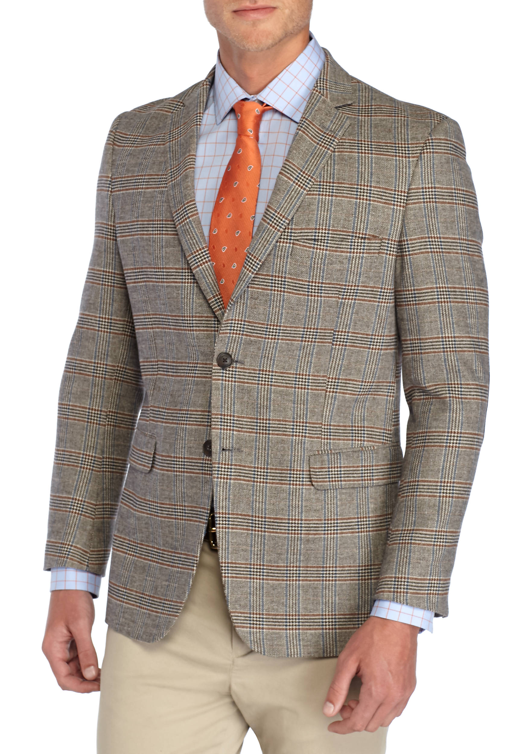Crown & Ivy™ Plaid Cotton Motion Stretch Cotton Sport Coat with ...