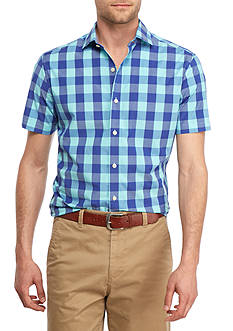 Crown & Ivy™ Short Sleeve Stretch Gingham Print Spread Collar Shirt