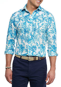 Crown & Ivy™ Long Sleeve Linen Cotton Spread Collar Shirt