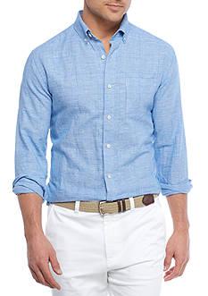 Crown & Ivy™ Long Sleeve Linen Cotton Button Down Shirt