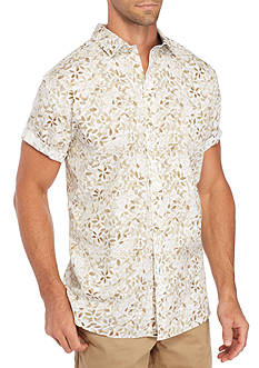 Crown & Ivy™ Short Sleeve Petal Print Spread Collar Shirt