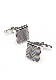 Kenneth Cole Reaction Polished Rhodium Rectangle Cufflinks