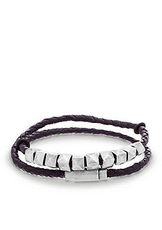 Steve Madden Silver-Tone Studded Black Leather Wrap Bracelet